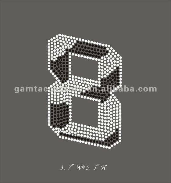hotfix rhinestone transfer Iron on For Sports Number 8 Design Zebra