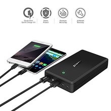 AUKEY 30000mAh Power Bank Quick Charge 3.0 Dual USB Mobile Portable Charger (Including USB C Cable) for Apple MacBook, iPhone