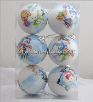 2014 new arrival Cheapest China OEM factory printing christmas ball,plastic christmas ball pvc christams tree for fun