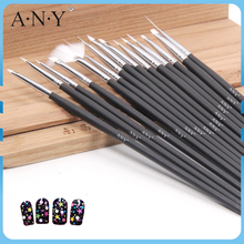 ANY Cheap Black Wood Handle 15 Nail Brush/ Set For Nali Beauty Care