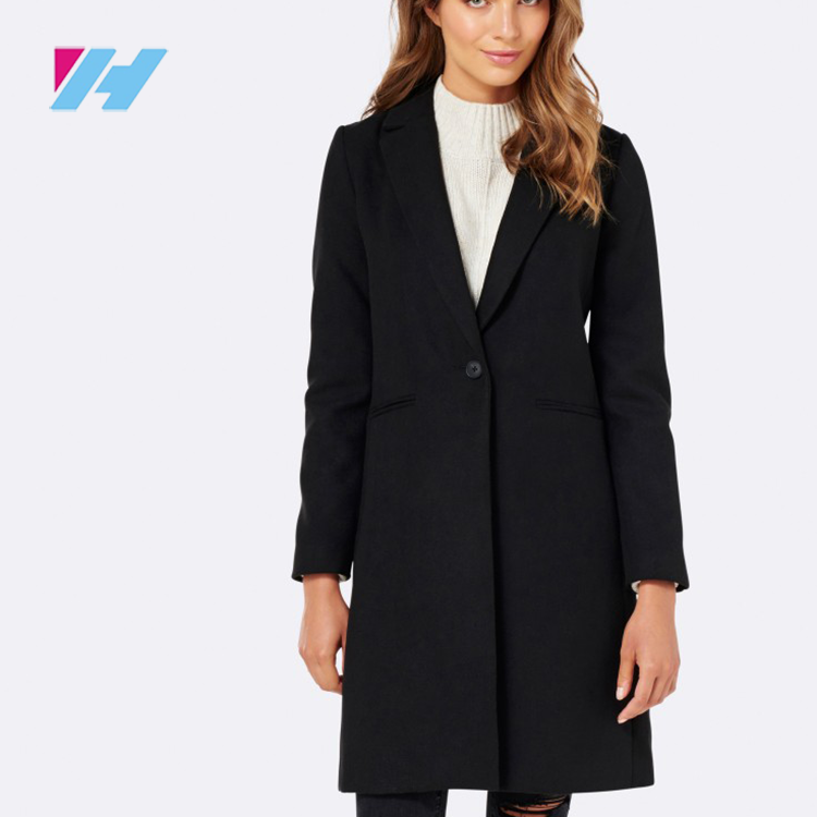 2017 European customize women' clothes ladies black winter overcoat with belt suppiler in dongguan