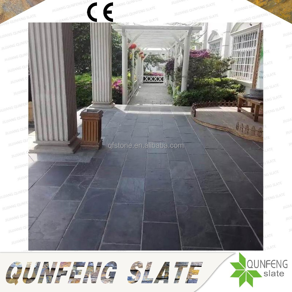 Hot Sale Natural Black Stone Tile Slate Calibrated Flooring