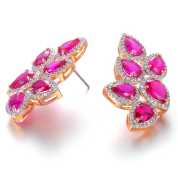 Wholesale price hot sale crystal leaf shaped brass stud earring