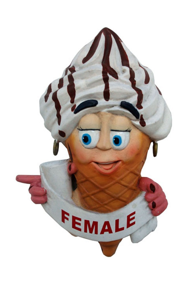 Resin Ice Cream Toilet Door Sign (Female)