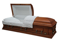 Natural oak veneer dark matte casket funeral supplies with velvet or crepe interior