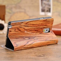 Stand function heavy duty case for samsung galaxy note 3 cute case wood textured flip window case