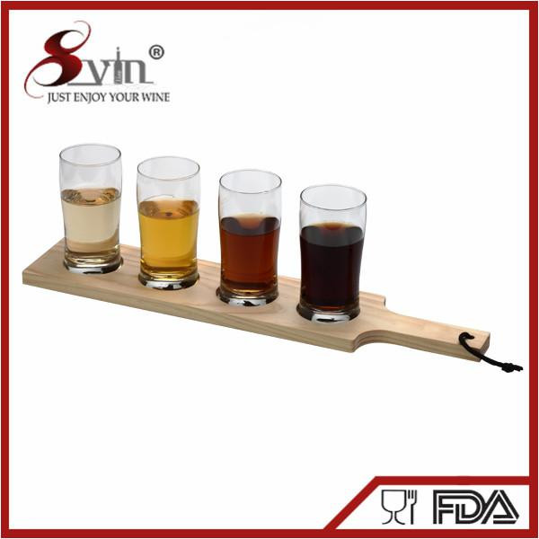 Beer Tasting Glass Set Full Bar Wooden Beer Paddle Set