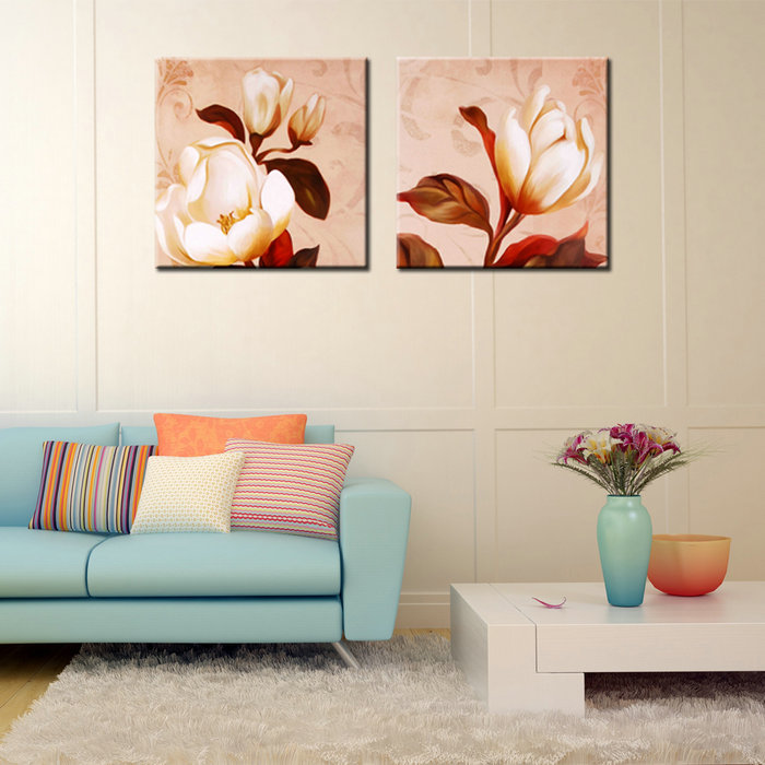 Decorative Wall Pictures White Lotus Canvas Flower Oil Painting for Living Room