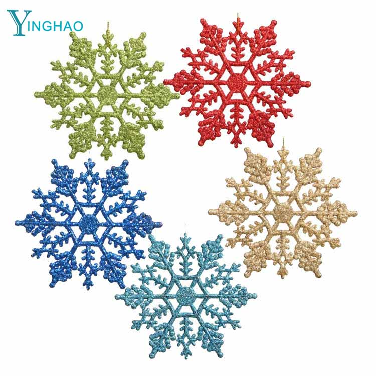 New Christmas <strong>decorations</strong> 6.5CM Christmas plastic snowflakes loose powder multi - color election factory direct