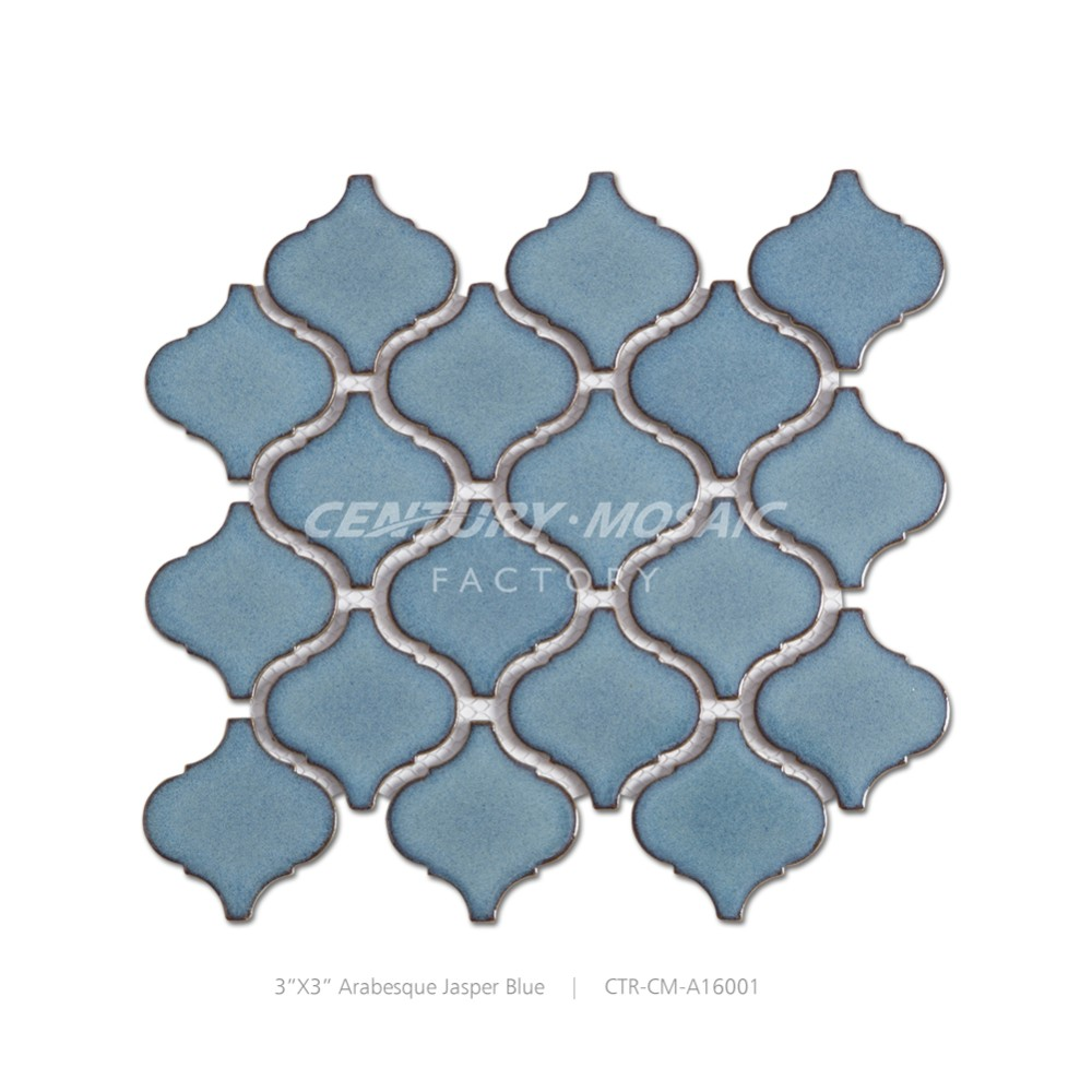Century 3''x3'' Jasper Blue Arabesque Ceramic Mosaic Tiles
