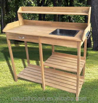 Outdoor Garden Wooden Potting Bench