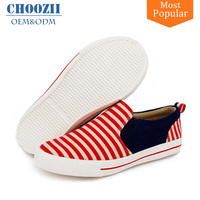 Wholesale Custom Children Stripe Classic Breathable Canvas Unisex Kids Slip-on Sneakers Shoes for Girls