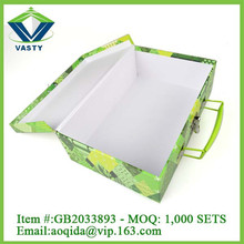 Custom order rectangle paper cardboard suitcase box with handle