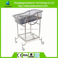 BT-AB108 CE ISO Approved stainless steel frame ABS tray mobile plastic baby bed