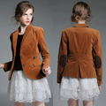 2018 High quality Spring custom blazer jacket , brown lapel latest casual lady jackets for women