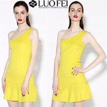 Hot selll summer dress clothes one shoulder dress australia with pleating hemline