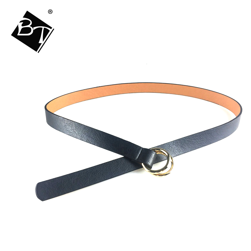 BT High Quality Factory Ladies Double Ring Buckles Black Women Flat Belt For Dress