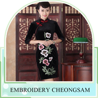 Qipao fashion dress daily slim retro elegance suzhou embroidery cheongsam