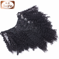Factory wholesale price for peruvian hair afro kinky curly clip in hair extensions