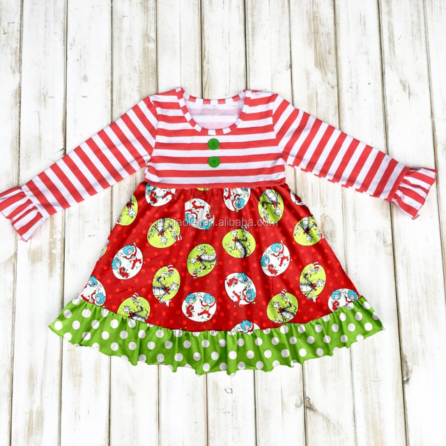 new design red stripe cotton girl dress wholesale boutique christmas dress for kids