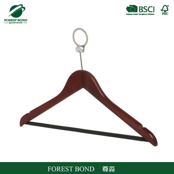 Bottom price competitive flocked wooden hanger