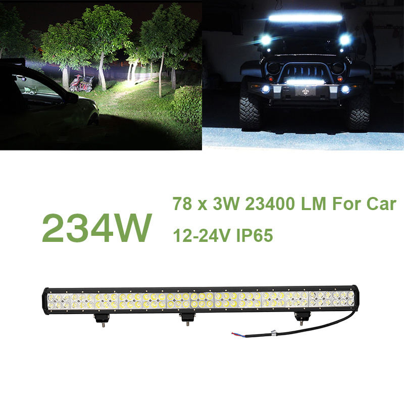 Super Bright 234W LED Driving Light Bars Single Row DIY used in Car/Boat/Truck/Auto headlight 78LEDs