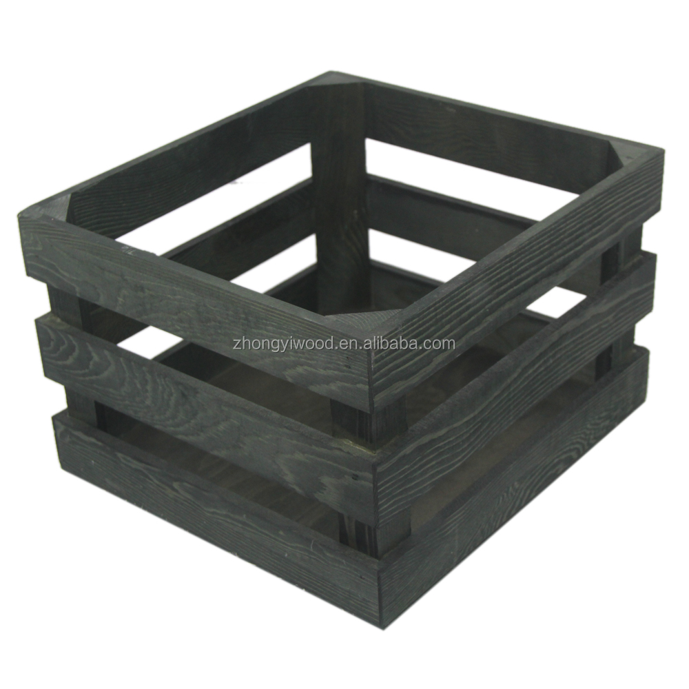 BSCI FSC IS9001 Rustic Classical Pine Green Wooden Crate