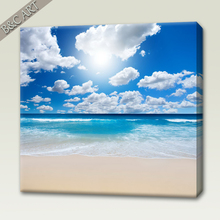 Decoration Wall Scenery Painting Blue Sky Seaside Beach Landscape Custom Canvas Prints For Home Decor Wholesale
