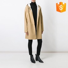 Autumn fashion beige cotton blend oversized hooded women pvc trench coat