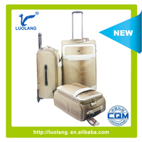 PU Leather brown snake skin cheap luggage trolley bag
