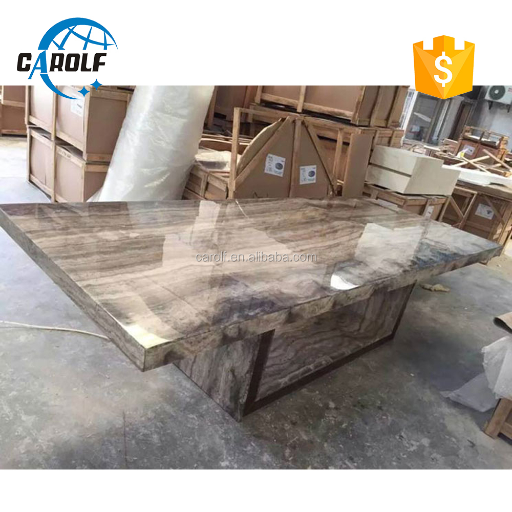 Hot sale factory direct price 12 sets marble pedestal dining table