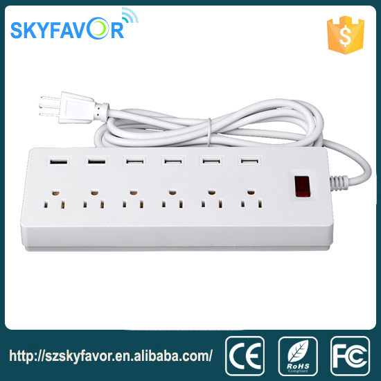 USA power strip with surge protect,smart 6 way usa power socket for pc,6 USB extension socket power extension