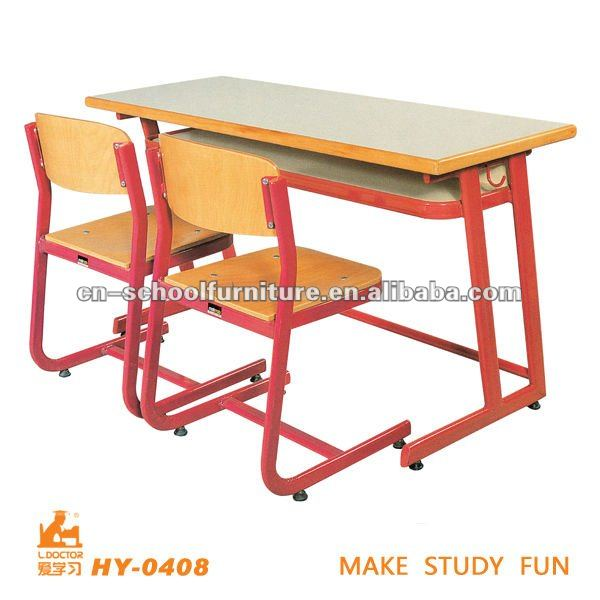 Double MDF student desk and chair