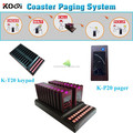 Wireless coaster pager system for fast food restaurant service sector with K-P pager and K-T transmitter