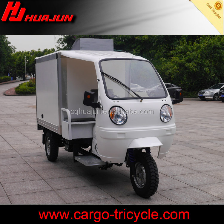 container box for export tricycle/three wheel motorcycle with cooling box for sale