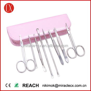 Stainless steel acne tweezer kit zipper pouch acne removal tool