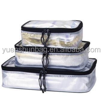 3 set Clear PVC Waterproof travel packing cubes