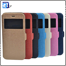 Top selling low price mobile phone case window view flip cover case for iphone 6 leather case