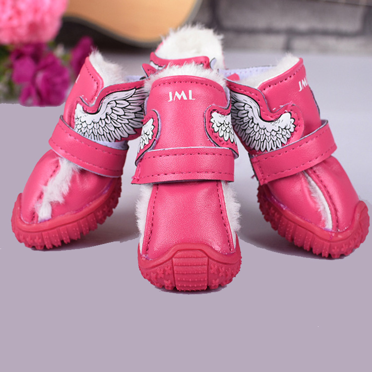 Winter Warm Waterproof Dog Boots With White Wings