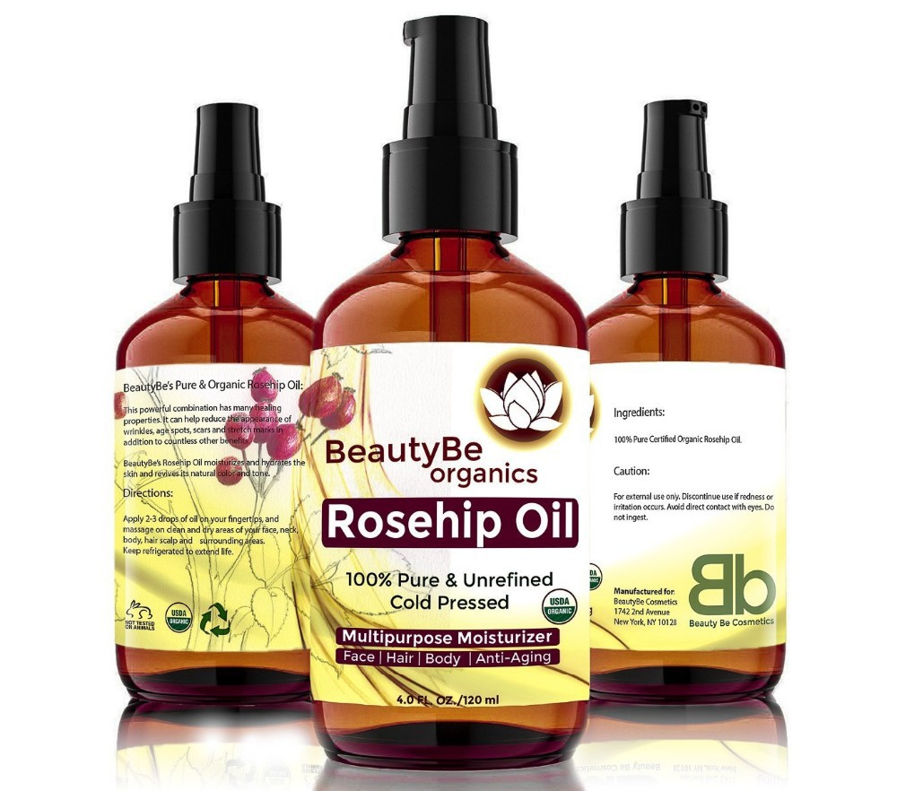 Organic Rosehip Seed Oil 4 OZ and Argan Oil 1 OZ - Best Moisturizer for Skin, Hair, Stretch Marks, Scars, Discoloration,--585023