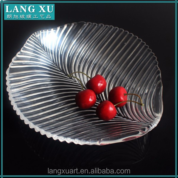 LX-P021 home goods dinnerware crystal clear leaf shape glass plate
