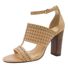 women latest laser cut design ankle strap block high heel sandals shoes