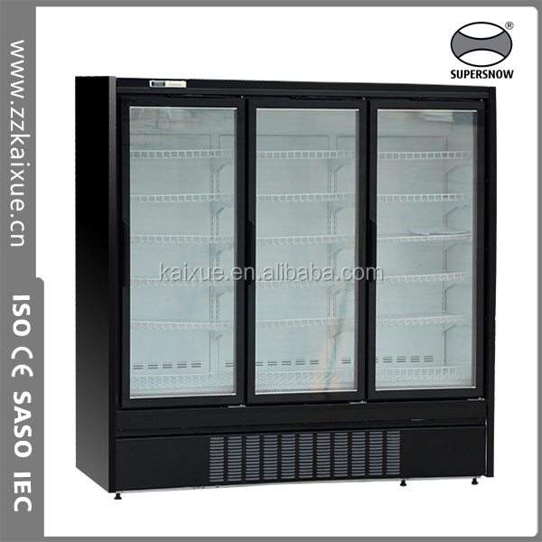 Vertical glass door ice cream refrigerator freezer