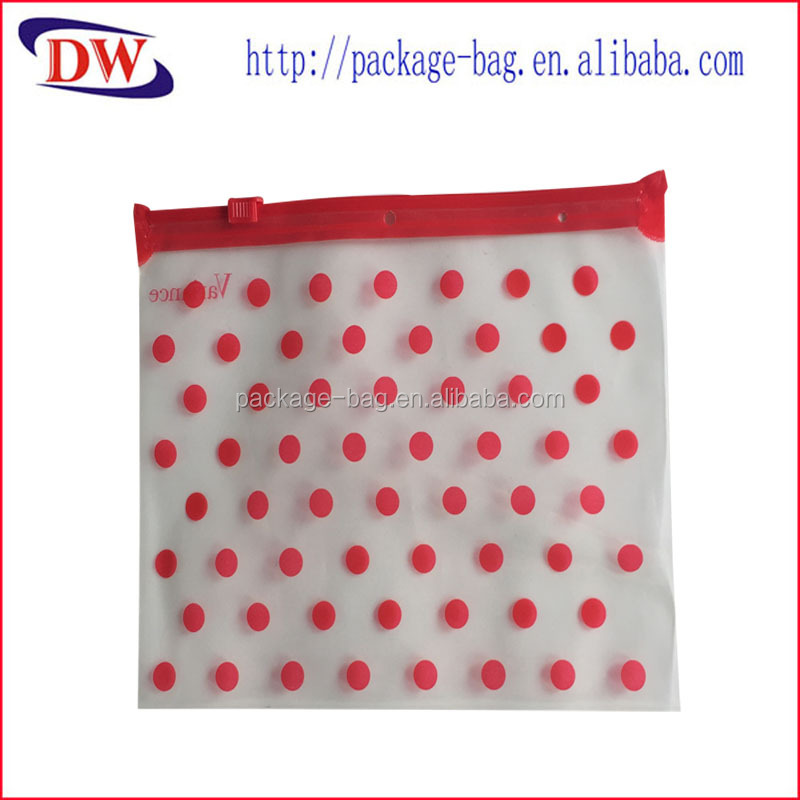 red dot printing pe plastic zipper bag for clothing