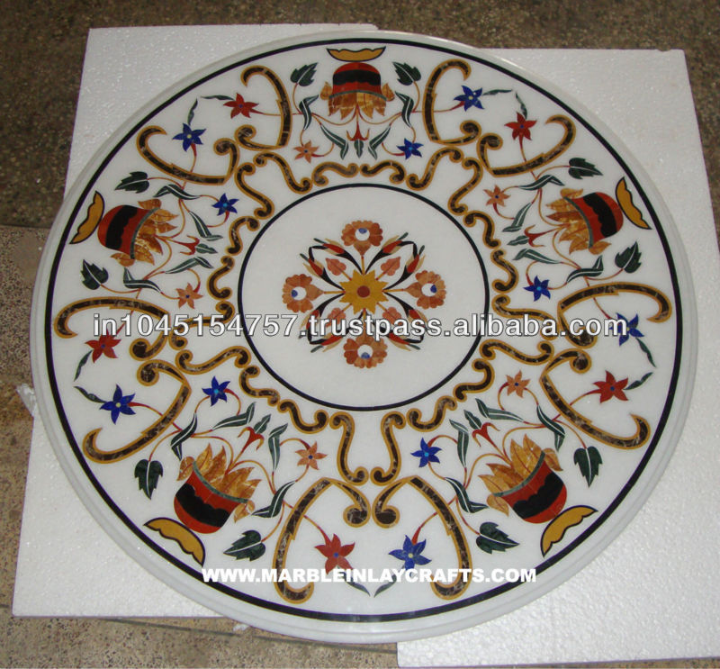 Designer White Marble Stone Inlaid Table Mosaic Inlay Art