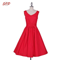New fashion customized dress plus size sleeveless satin retro bridesmaid dress