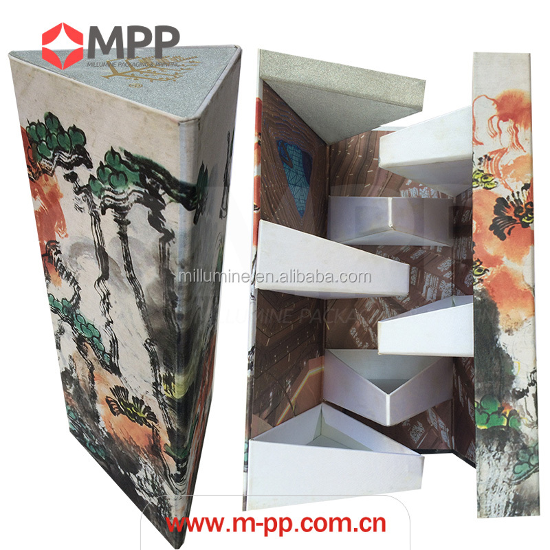OEM high quality triangle shape cloth linen fabric gift box