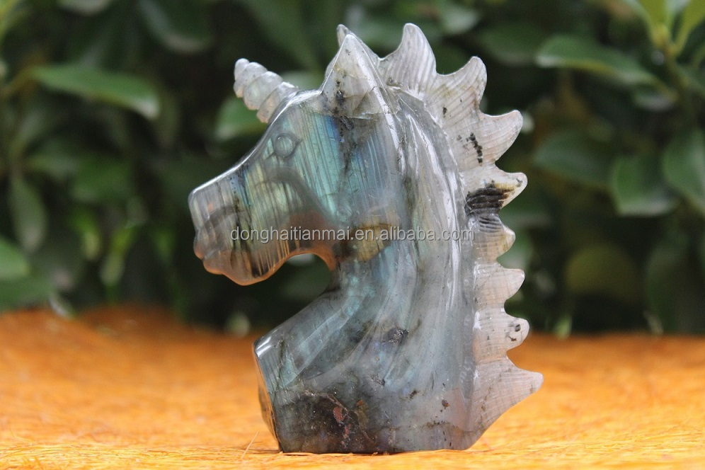 Wholesale natural laboradite quartz crystal hand carved unicorn for gift