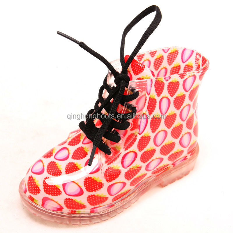 girls children cute strawberry waterproof rain boots