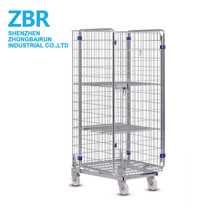 Folding Laundry Wire Mesh Roll Cart Container